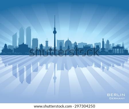 Berlin Germany city skyline vector silhouette illustration - stock vector