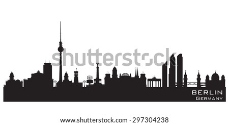 Berlin Germany skyline Detailed vector silhouette - stock vector