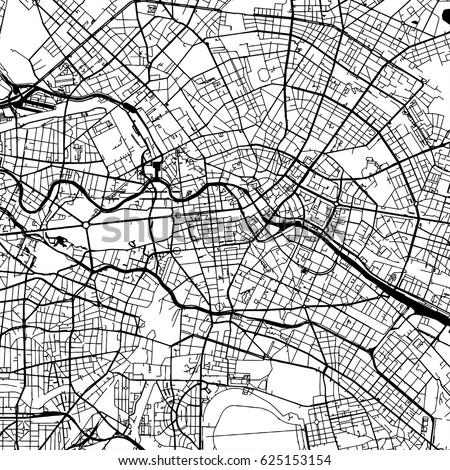 Paris France Vector Map Monochrome Artprint Stock Vector - Paris map outline