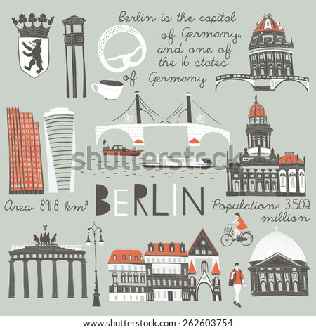 Berlin landmarks and monuments - stock vector