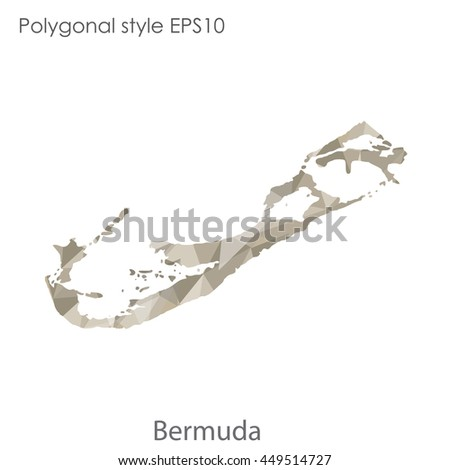 Bermuda map in geometric polygonal style.Abstract triangle,modern design background.Vector Illustration EPS10.