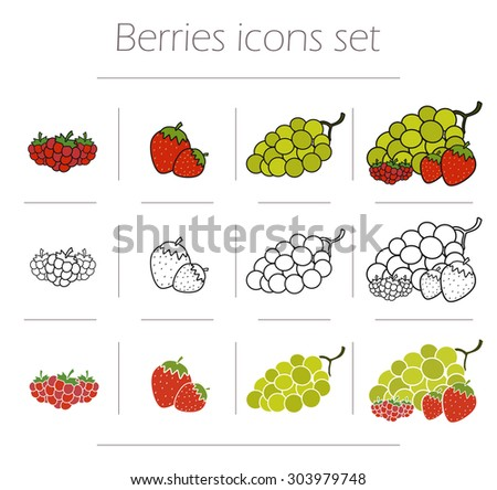 Berries icons set. Healthy fresh die food symbols. Raspberries, strawberries and bunch of grapes vector illustration isolated on white - stock vector