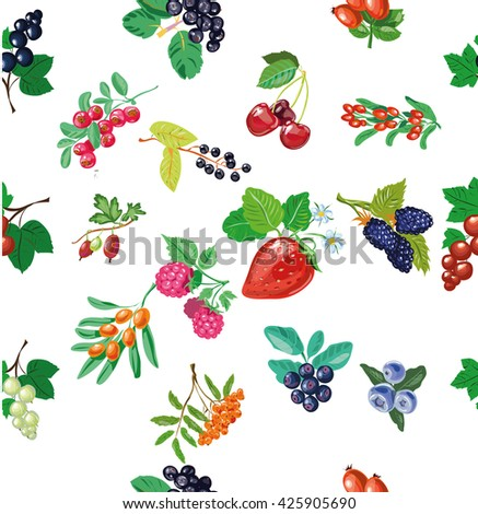 Berries seamless pattern, vector illustration in pop art retro comic style