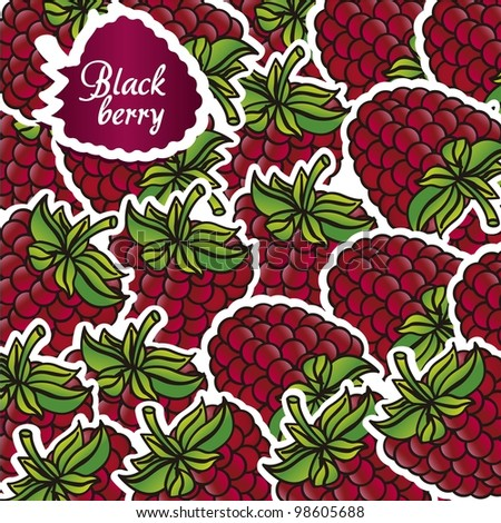 berries with white border grouped cartoon, background - stock vector
