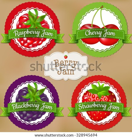 Berry Labels With Gradient Mesh, Vector Illustration - stock vector