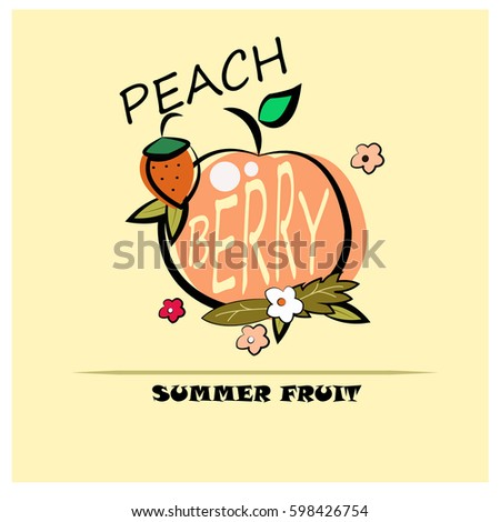 Berry Summer Fruit ( peach berry flowers )