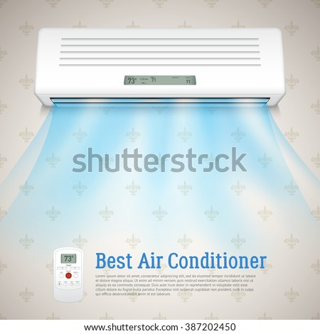 Best air conditioner realistic background with cold air symbols vector illustration - stock vector