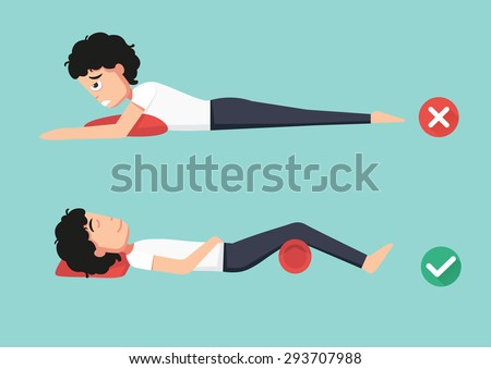 Best and worst positions for sleeping, illustration, vector - stock vector