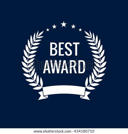 Best award white star laurel label. Best award vector laurel wreath sign. Winner label, leaf symbol victory, triumph and success illustration - stock vector