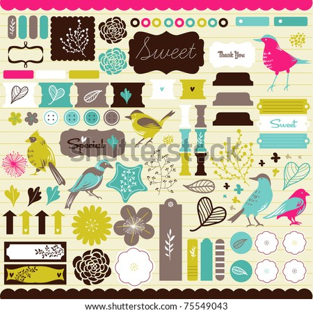 Best bird tags and bookmarks for scrapbook - stock vector