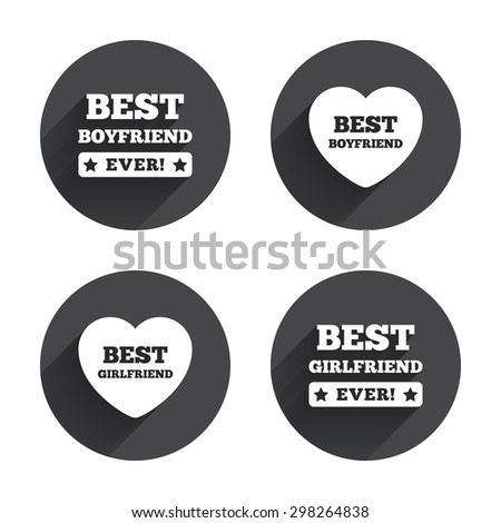 Best boyfriend and girlfriend icons. Heart love signs. Award symbol. Circles buttons with long flat shadow. Vector - stock vector