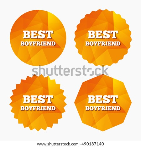Best boyfriend sign icon. Award symbol. Triangular low poly buttons with flat icon. Vector