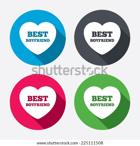 Best boyfriend sign icon heart love symbol circle buttons with long