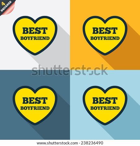 Best boyfriend sign icon heart love symbol four squares colored