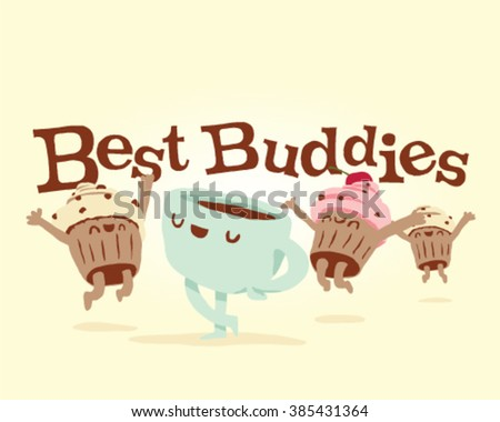 Best Buddies Cute Stylish muffins and coffee - stock vector