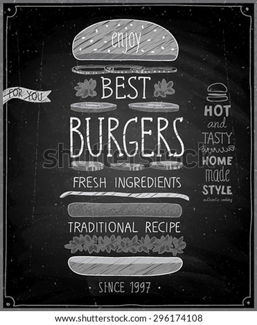 Best Burgers Poster - chalkboard style. Vector illustration. - stock vector