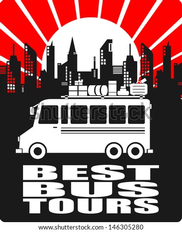 Best Bus Tours, poster - stock vector