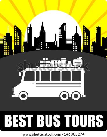 Best Bus Tours, vector - stock vector