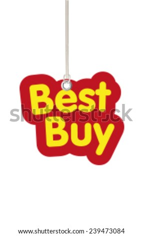 Best Buy Shaped Label Hanging from Cord - stock vector