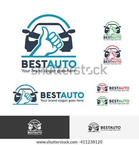 Best Car Logo Template with Thumb up symbol - stock vector
