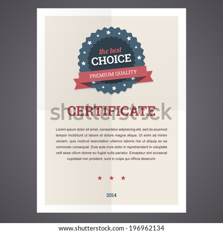 Best choice certificate template on folded paper with badge and text. Vector illustration in flat style. - stock vector