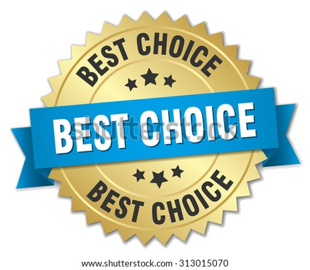 best choice 3d gold badge with blue ribbon - stock vector