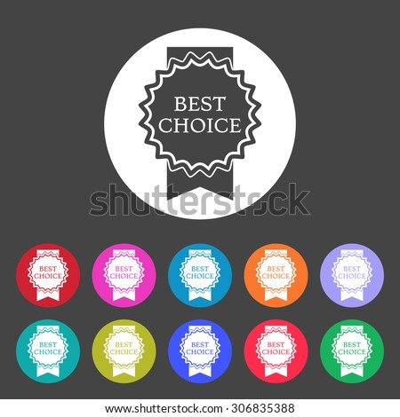 Best choice icon. Medal on ribbon. Set of varicolored icons. - stock vector