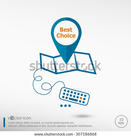 Best choice message and pin on the map. Line icons for application development, creative process.  - stock vector