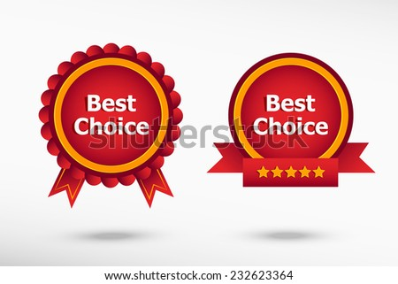 Best choice message stylish quality guarantee badges. Colorful Promotional Labels - stock vector