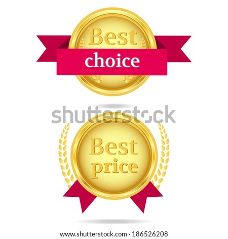 Best choice vector icons. Best choice and Best price gold vector icons with red ribbons. - stock vector