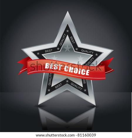 Best choice, vector silver star emblem with red label on it on studio background - stock vector