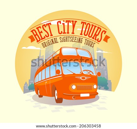 Best city tours design with double-decker bus against city background. - stock vector