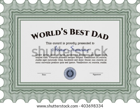 Best Dad Award Template. Artistry design. With complex linear background. Vector illustration.