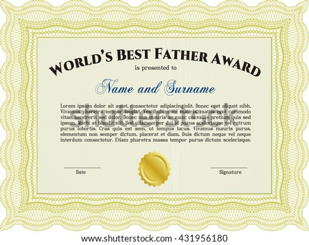 Best Dad Award Template. Excellent complex design. Vector illustration. With complex linear background.