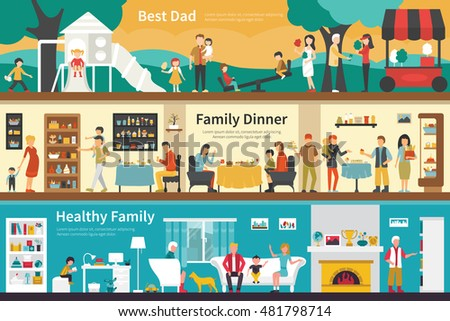 Best Dad Family Dinner Healthy flat interior outdoor concept web