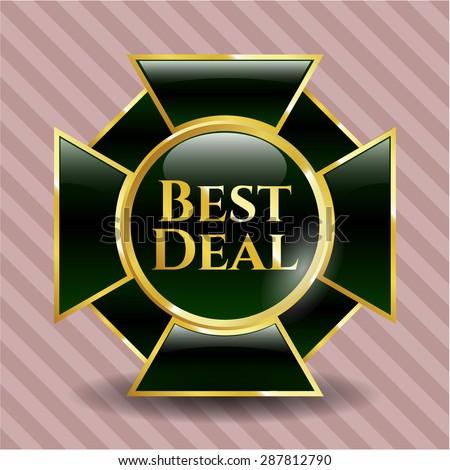 Best Deal gold shiny emblem  - stock vector