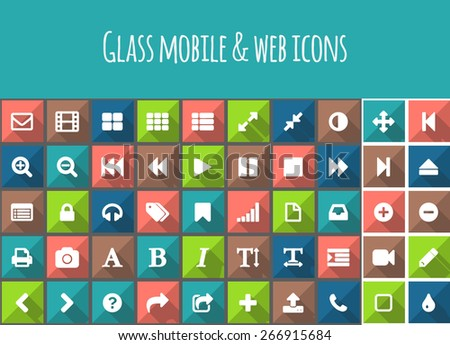 Best flat vector colored square buttons with icons with long shadow for mobile or web - stock vector