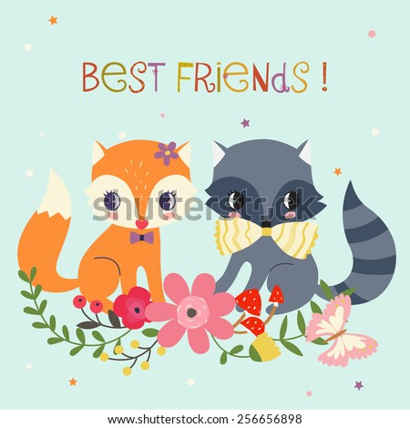 Best Friends Background. - stock vector