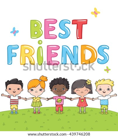Best friends - multiracial hand drawn children. Kids on the summer meadow vector illustration. Cute funny cartoon little ones holding hands.