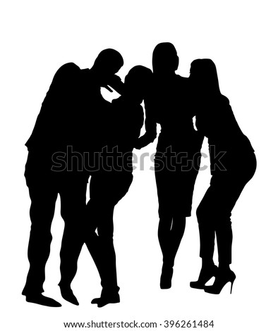 Best friends taking selfie vector silhouette illustrations. Happy friendship concept with young people having fun together. Birthday celebration. - stock vector
