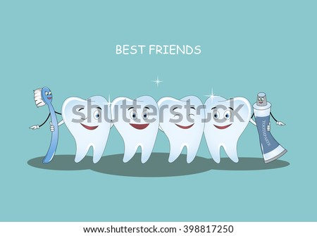 Best Friends teeth. Vector illustration. Illustration for children dentistry and orthodontics. Image toothbrush, tooth paste and tooth. Happy healthy teeth. - stock vector