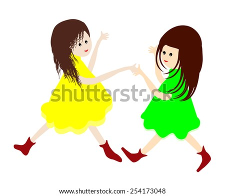 Best friends-Two little girls holding hands and dancing together- Vector illustration  - stock vector
