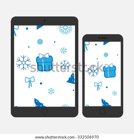 Best gift on holidays: christmas, new year. New model tablet and smartphone. Gadgets with christmas wallpaper - stock vector