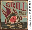 Best grill in town - vintage tin sign. Metal sign with barbecue. Retro BBQ poster template with fresh beef steak. - stock vector