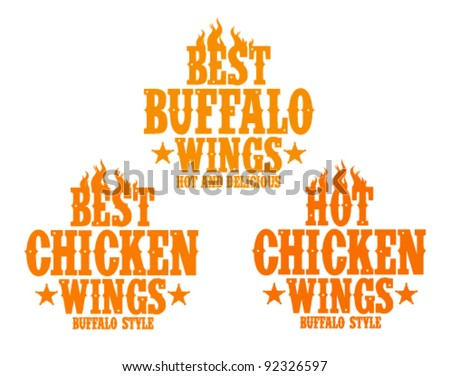 Best hot chicken wings signs. - stock vector