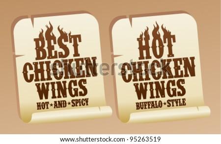 Best hot chicken wings stickers. - stock vector