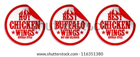 Best hot chicken wings stickers set. - stock vector