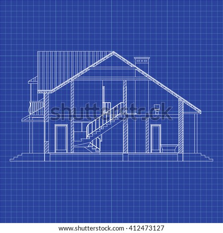 Best interesting architectural background on graph paper. Cross-section suburban house. Vector blueprint.