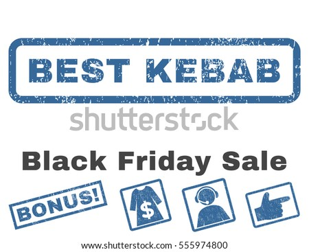 Best Kebab rubber seal stamp watermark with additional banners for Black Friday offers. Vector cobalt and gray emblems. Text inside rectangular banner with grunge design and dust texture.
