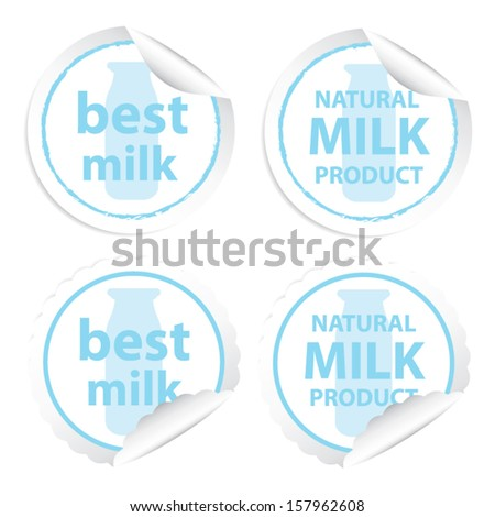 Best milk and Natural milk product stickers. Vector